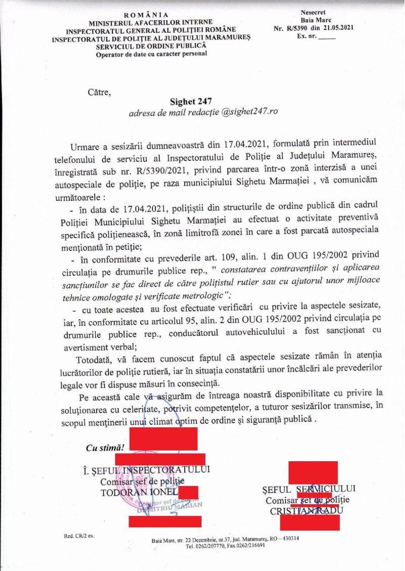 IPJ MM ȚINE SPATELE AGENȚILOR CARE GREȘESC - Agenta de poliție care a încălecat limitatoarele de viteză pe trecerea pentru pietoni și a accelerat când a fost depășită a scăpat doar cu un AVERTISMENT