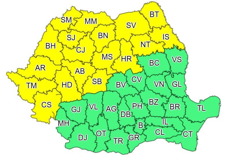 Atenționare COD GALBEN de FURTUNI în Maramureș și alte județe din țară. Instabilitate atmosferică accentuată și ploi, până marți
