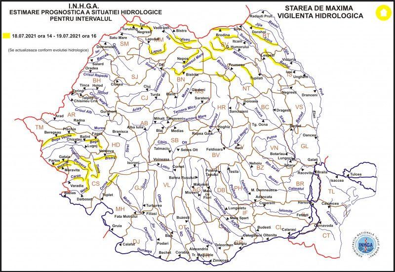 COD GALBEN de inundaţii pe râurile Vişeu, Iza și Lăpuş până mâine la ora 16:00