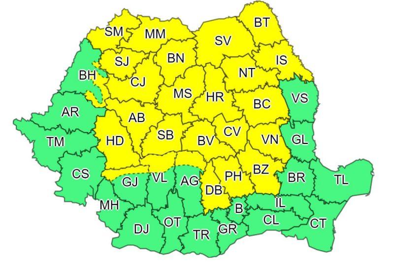 Alertă COD GALBEN de ploi și vijelii în Maramureș și alte județe până la ora 22:00