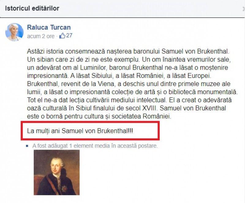 """Raluca Turcan i-a urat """"La mulți ani"""" baronului Samuel von Brukenthal. Acesta a murit în 1803"""