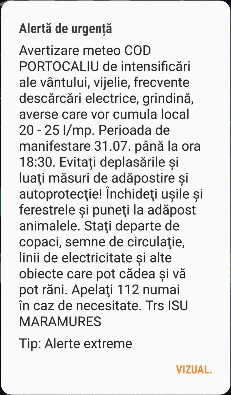 Avertizare RO-ALERT - COD PORTOCALIU de instabilitate atmosferică temporar accentuată în Maramureș, până la orele 18:30. Vezi zonele afectate