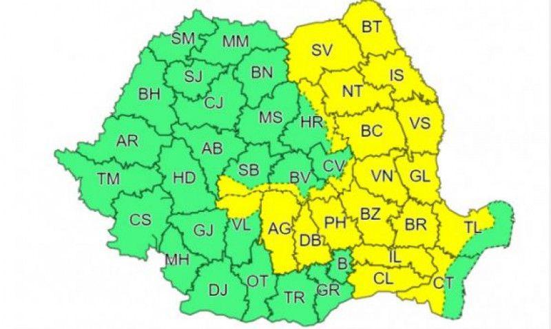 Meteorologii au emis un nou Cod galben de vijelii în 22 de județe. Alertă meteo de caniculă în sud și sud-est. HARTA zonelor vizate