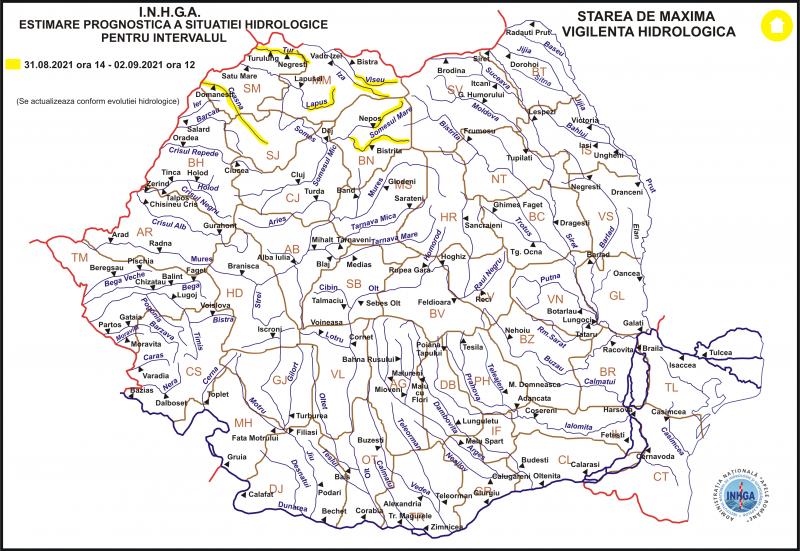 COD GALBEN de inundaţii pe râurile Vişeu, Iza și Lăpuş până joi la ora 12:00