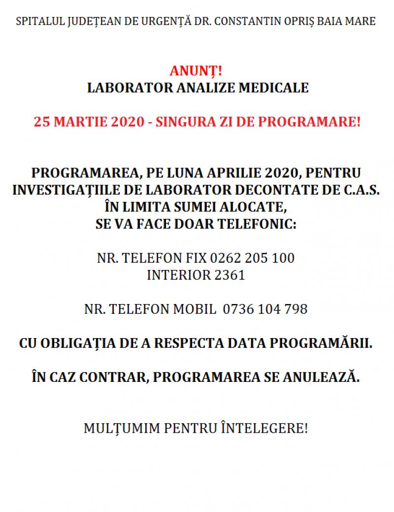 """Programări în cazul Laboratorului de Analize Medicale al Spitalului Județean de Urgență """"Dr. Constantin Opriș"""" din Baia Mare"""