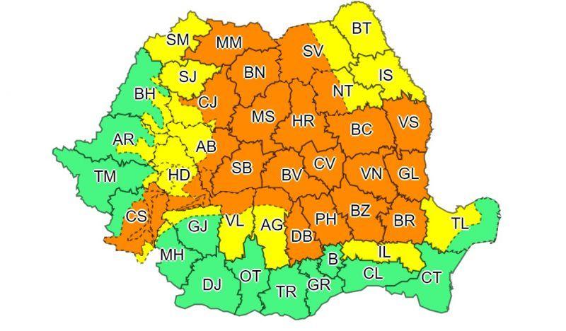 AVERTIZARE - COD PORTOCALIU de instabilitate atmosferică în MARAMUREȘ până mâine la ora 04:00