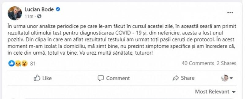 Ministrul transporturilor Lucian Bode depistat pozitiv la Covid-19. Este al doilea membru al Guvernului infectat cu coronavirus