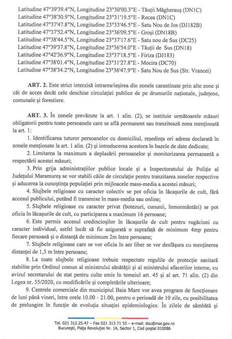 DOCUMENT - BAIA MARE în CARANTINĂ zonală. Decizia se aplică de azi începând cu ora 17:00