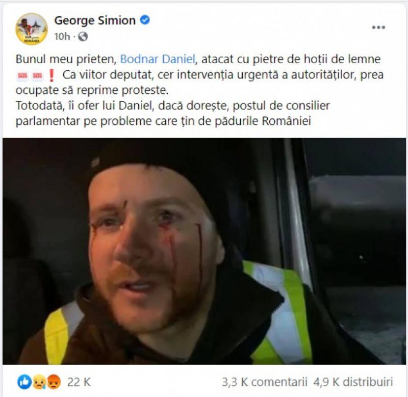 """VIDEO - Activistul de mediu Daniel Bodnar, atacat cu pietre de hoţii de lemne: """"Nu era nevoie să curgă sânge"""""""