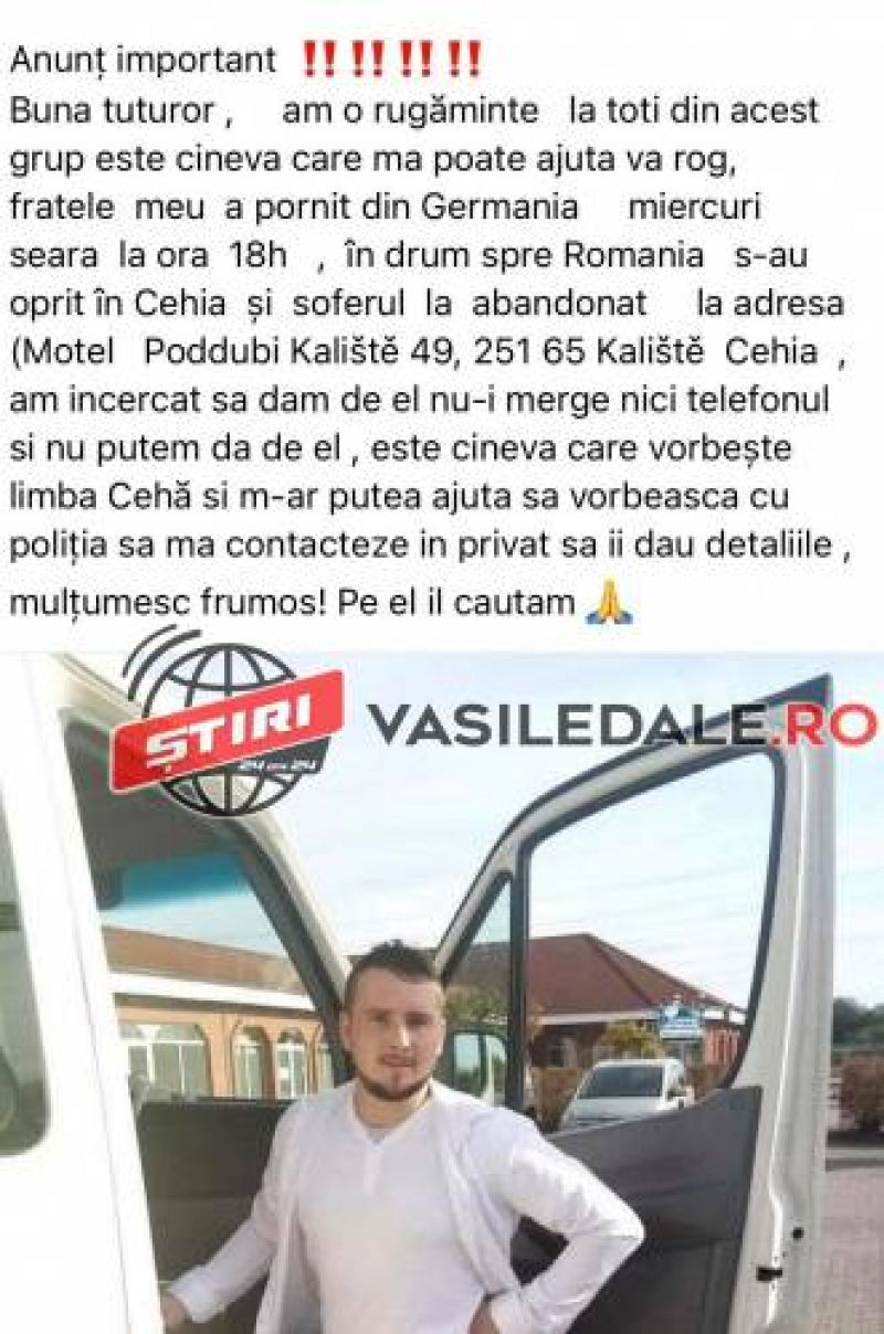 Un tânăr din Poienile de Sub Munte este căutat în Cehia, după ce a fost abandonat de șoferul unui microbuz