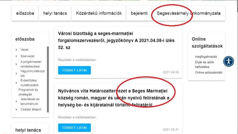 """RÂZI SAU PLÂNGI? Versiunea în limba maghiară a site-ului primăriei în loc de Sighetu Marmației (Máramarossziget) scrie """"Segesvásárhely"""""""
